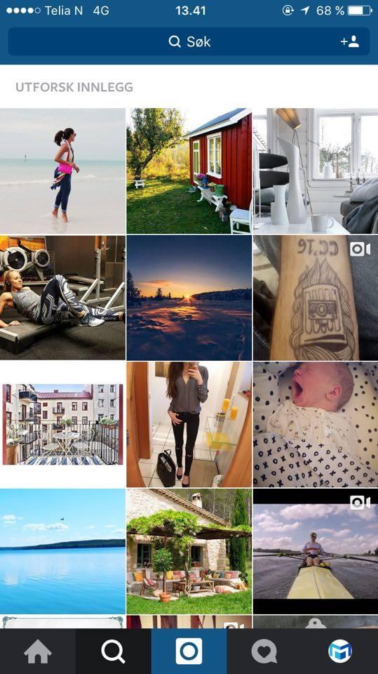 Søkefelt på Instagram